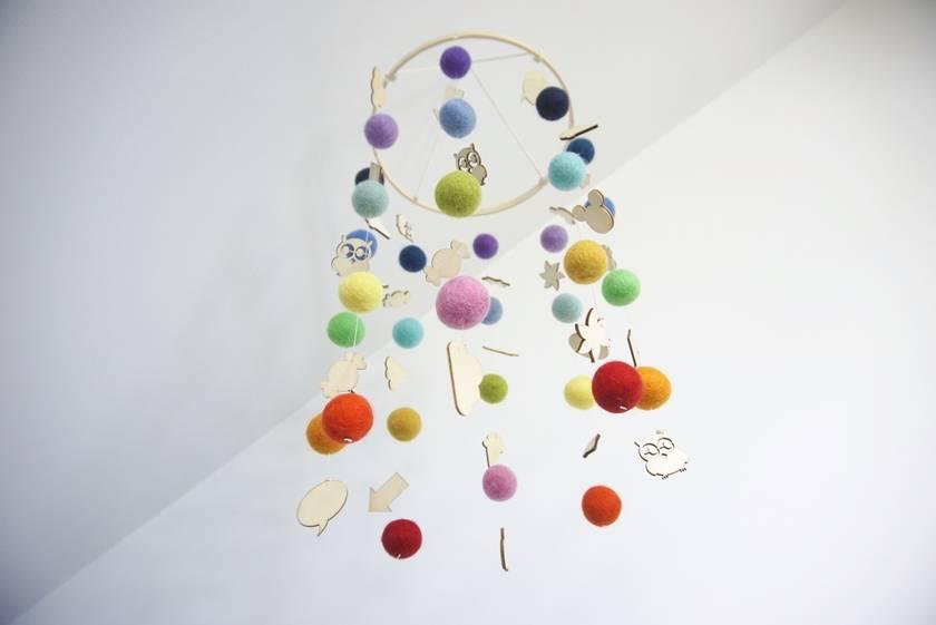 Rainbow felt ball baby mobile with wood embellishments
