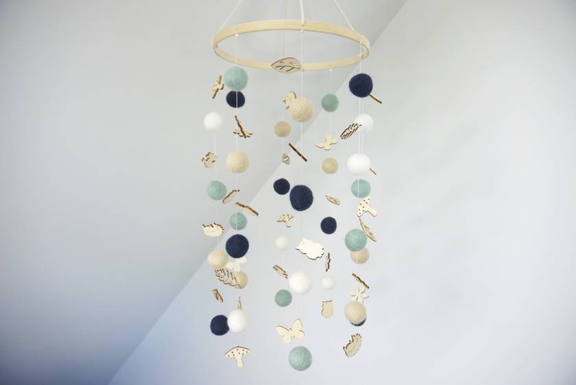 Mint, navy, white and cream felt ball baby mobile with wood embellishments