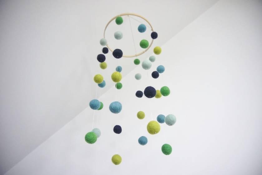 Green, navy and blue felt ball mobile