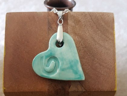 Aqua blue heart pendant