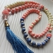 Blue Tassel Necklace with Pink Beads