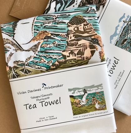 Gannets/Takapu Tea Towel - New Zealand Native Birds collection