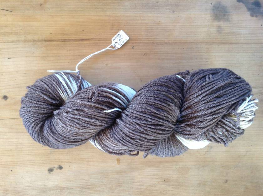 Naturally Dyed Sock Wool - Chocolate and Cream