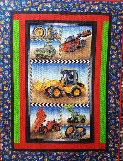 Diggers on the Move, quilt, throw, cover, patchwork quilt, play mat
