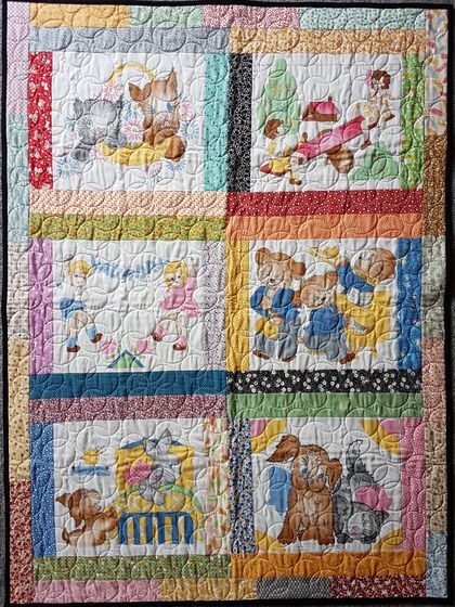 1930's Retro Baby Cot Quilt, Patchwork Quilt, Keepsake, Baby Gift