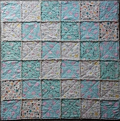 Snuggle Raggy Cot Quilt in Blues, quilt, Patchwork Quilt, Handmade, super soft, flannel