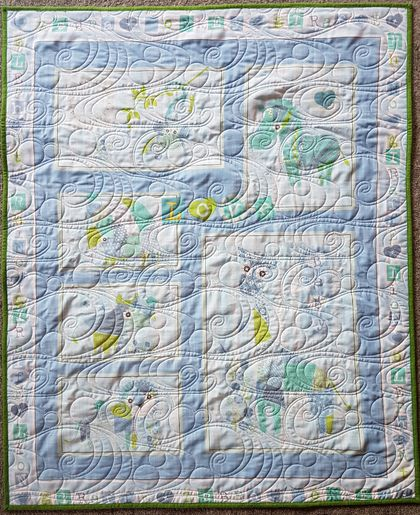 Baby's Blue Patchwork Animals Cot Quilt
