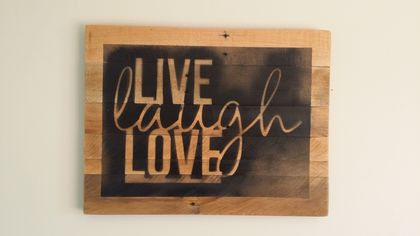 Inspirational rustic wall art - Live, laugh, Love ( free shipping)
