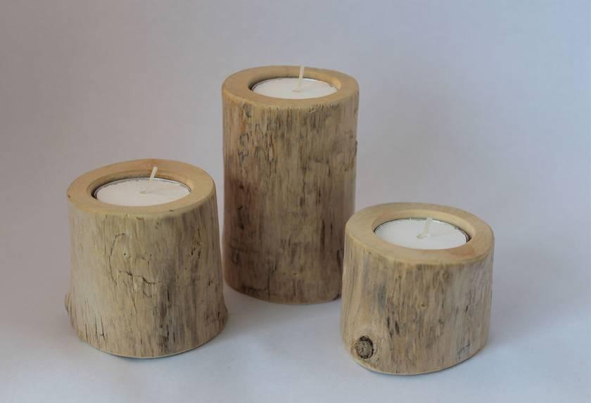 'Trilogy' - Set of 3 driftwood tealight holders