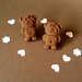 Chocolate Grumpy Tiny Teddy Stud Earrings