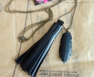 Black tassel necklace, up-cycled