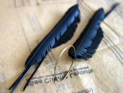 """Multi """"feather"""" earrings, up-cycled"""