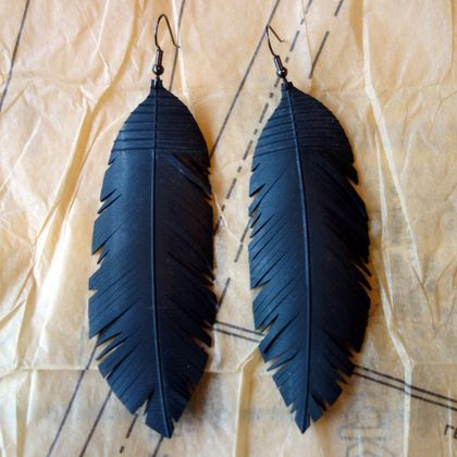 "X large ""feather"" earrings, up-cycled"