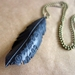 """Black """"feather"""" necklace, up-cycled"""