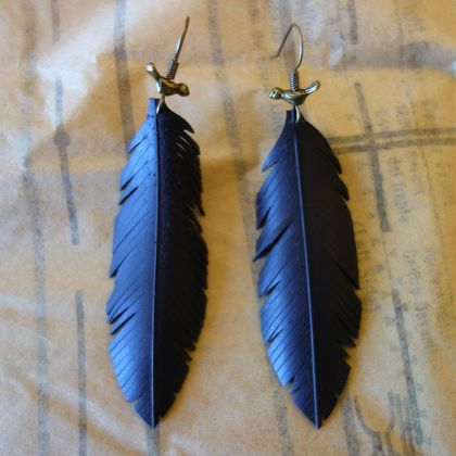 """Feather"" earrings with birdie, up-cycled"