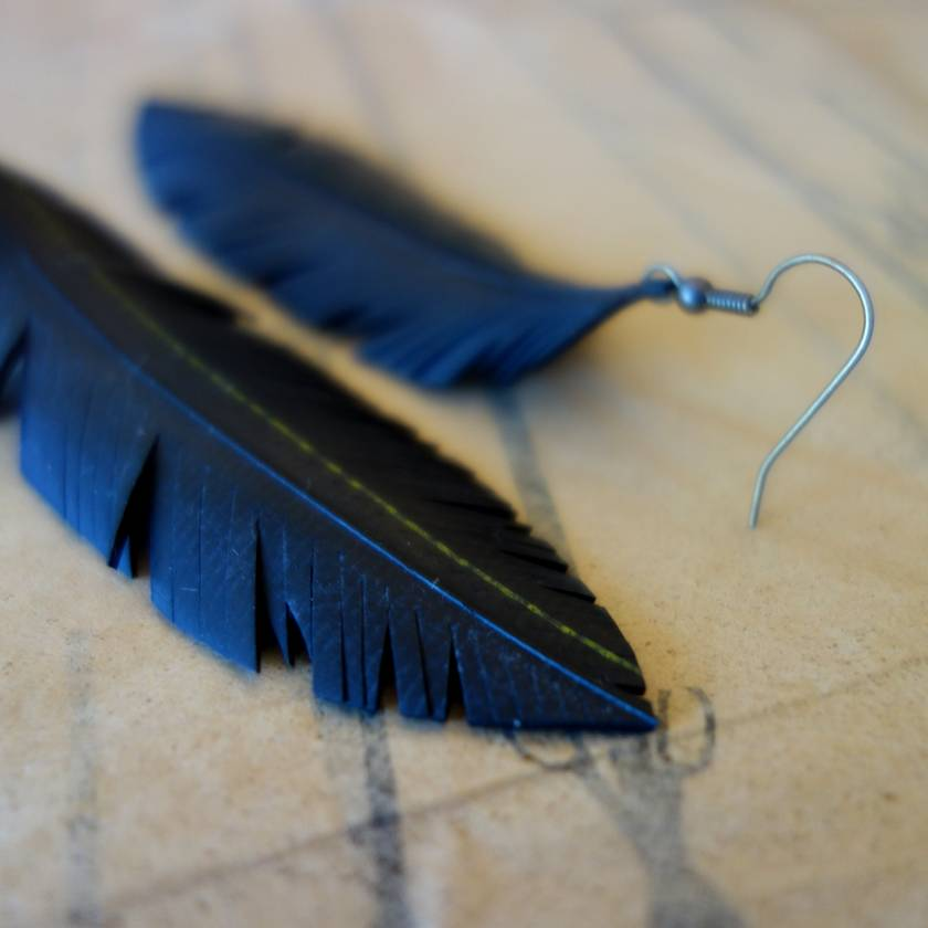 "Medium sized ""Feather"" earrings, up-cycled"