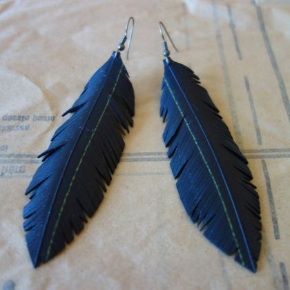 "Large sized ""Feather"" earrings, up-cycled"
