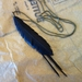 "Black ""feather"" & strands necklace, up-cycled"