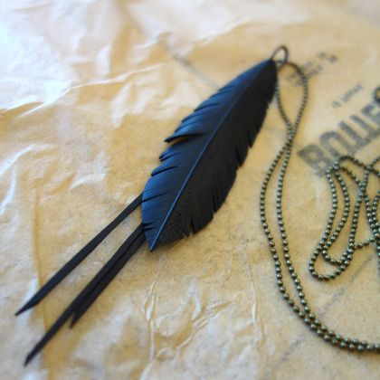 "Petite black ""feather"" & frill necklace, up-cycled"
