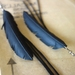 """Slim black """"feather"""" & frill earrings, up-cycled"""