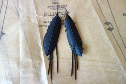 "Medium black ""feather"" & frill earrings, up-cycled"