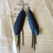 """Medium black """"feather"""" & frill earrings, up-cycled"""