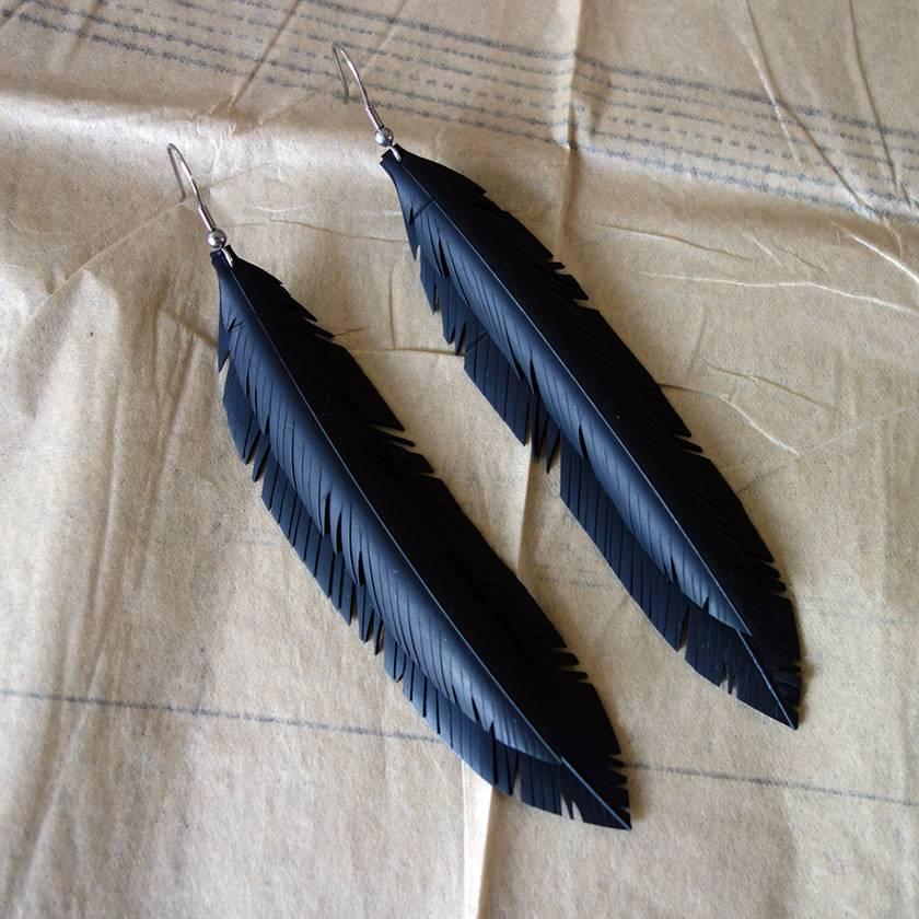 Jacinda's double feather earrings, up-cycled