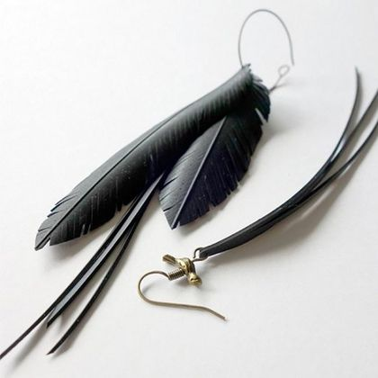 "Mis-match ""feather"" and tassel earrings with birdie, up-cycled"