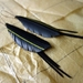 """Black """"feather"""" & strands earrings, yellow stripe, up-cycled"""