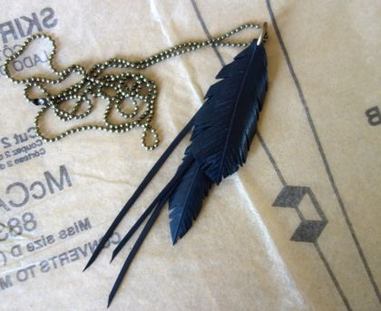 "Black ""multi-feather"" & strands necklace, up-cycled"