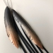 "Slender black ""feather"" & strands earrings with coppery glow, up-cycled"