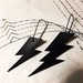 Lightning bolt earrings, from up-cycled inner tubes
