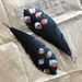 """Speckled """"feather"""" earrings, up-cycled"""