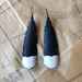 Huia feather earrings, up-cycled