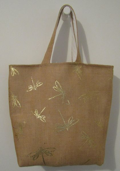 Fashion Tote Bag - Hessian with Calico lining.