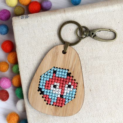 Foxy Keyring  ~ Modern DIY Embroidery Kit
