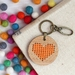 Orange Heart Keyring  ~ Modern DIY Embroidery Kit