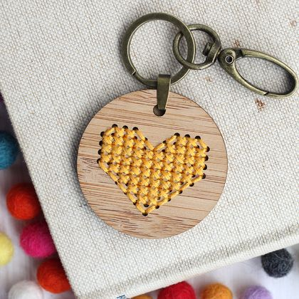 Yellow Heart Keyring  ~ Modern DIY Embroidery Kit