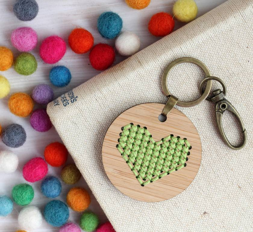 Green Heart Keyring  ~ Modern DIY Embroidery Kit