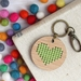 Green Heart Keyring  ~ Modern DIY Embroidery Kit
