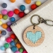 Aqua Heart Keyring  ~ Modern DIY Embroidery Kit