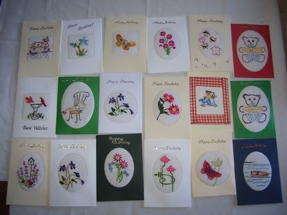 Hand embroidered cards - choose any 4