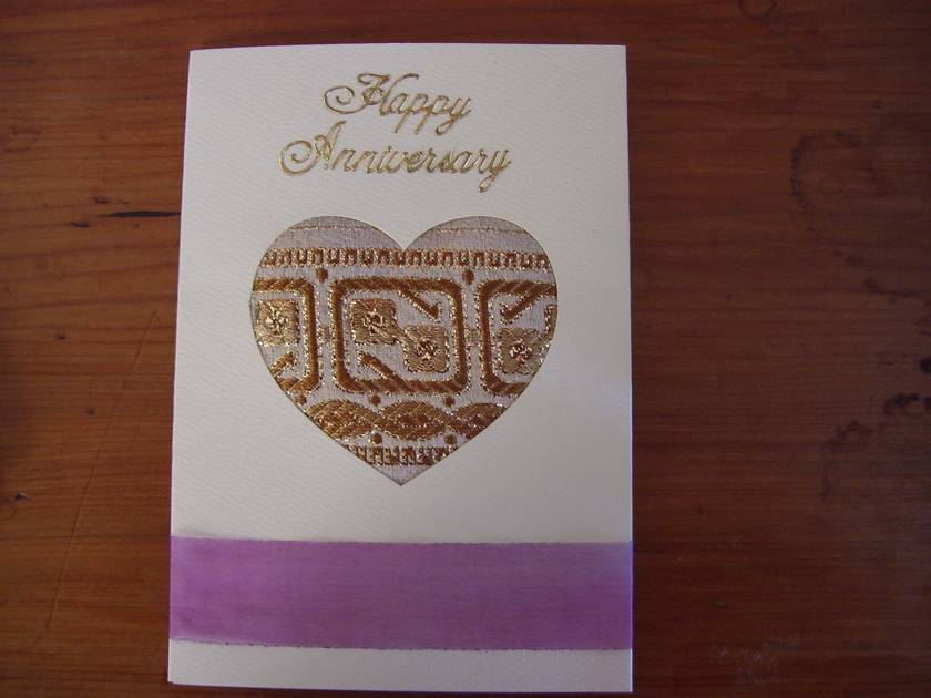 Hand embroidered anniversary card