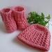 Pretty watermelon pink Beanie & Booties Set