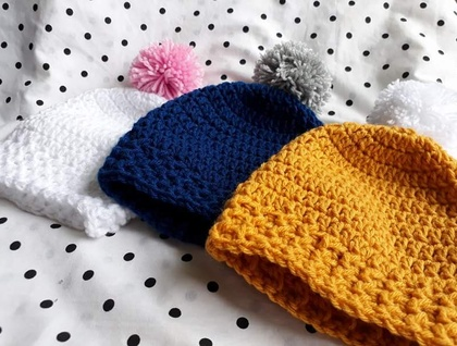 Winter Warm Pom Pom Rib Beanies