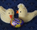 Knitted Easter chick for cream eggs