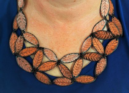 Artisan Recycled Bib Necklace, Upcycled Vinyl Record, Leaf Chain, Metallic Copper, Earth Tones