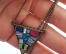 Triangle Geometric Necklace, Mosaic Pendant, Upcycled CDs& Vinyl records, Eco Friendly