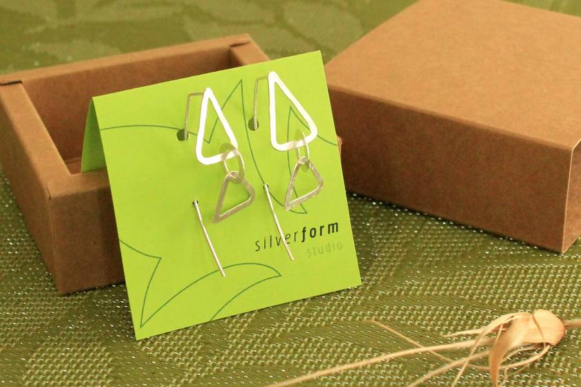 Sterling silver triple link triangle + circle earrings with long tail backs