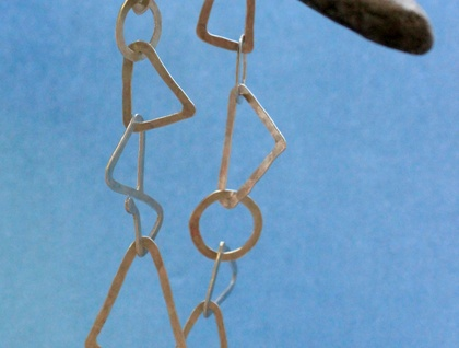 Sterling silver triangles & circles link bracelet